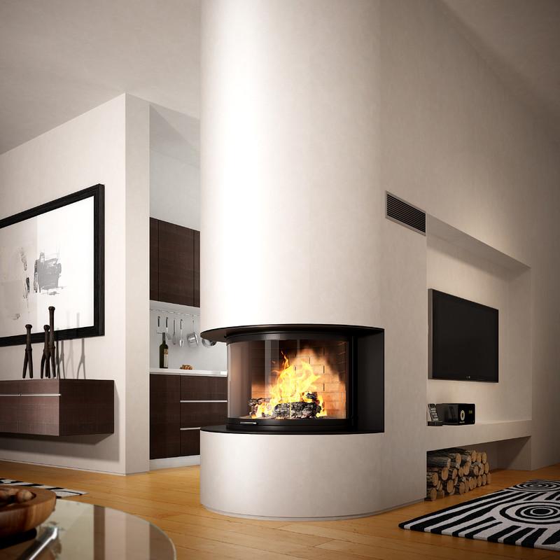 foyer de chemin e panoramique 180 avec porte relevable. Black Bedroom Furniture Sets. Home Design Ideas