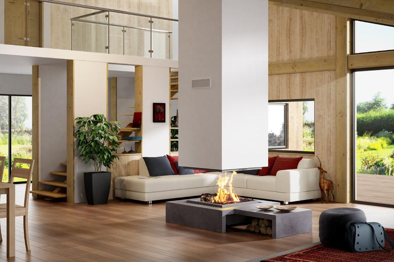 foyer de chemin e 4 faces suspendu technika. Black Bedroom Furniture Sets. Home Design Ideas